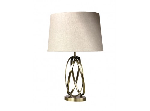TABLE LAMP ABSTRACT BRASS FINISH(W/ BEIGE SHADER)