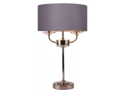 STYLO TABLE LAMP (Polished Nickel c/w Grey Shade)