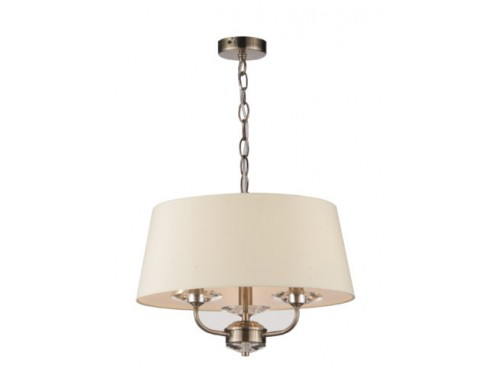 STYLO ANTIQUE BRASS PENDANT CREAM SHADE