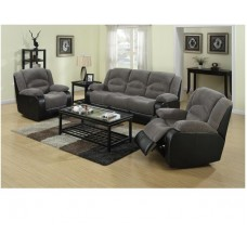Nove Fabric  3 Seater Grey/Black
